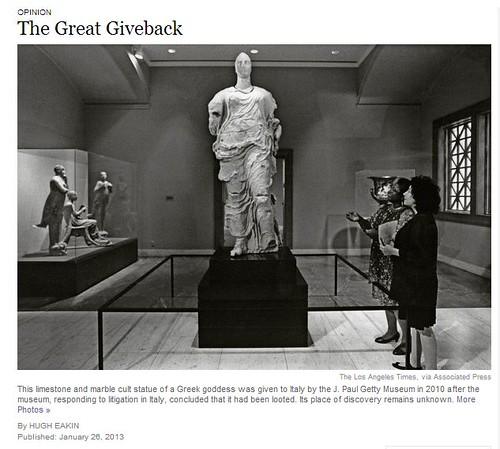 "ITALIA BENI CULTURALI: ""OPINION - The Great Giveback,"" THE NEW YORK TIMES (03 February & 26 JANUARY 2013), p. SR12"