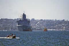USS San Diego (LPD 22) transits San Diego Bay Sept. 8 en route to the Unified Port of San Diego B Street Pier for San Diego Fleet Week 2016. (U.S. Navy/MC1 Joseph M. Buliavac)