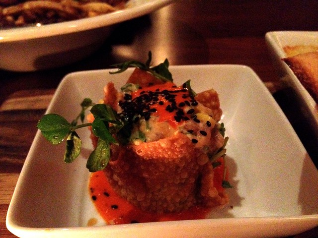Seafood tapas trio 1/3 - tuna in a wonton crisp