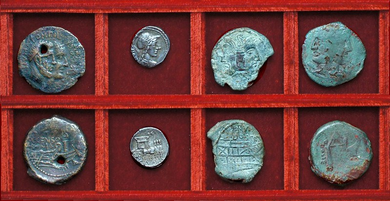 RRC 346 C.CENSORIN Marcia As, RRC 348 L.RVBRI DOSSEN Rubria denarius, bronzes, Ahala collection, coins of the Roman Republic