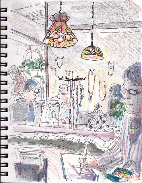 sketch session in a restaurant