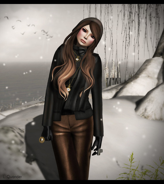 Baiastice_Emma Jacket with top-black & Milano Trousers - Brown - Close