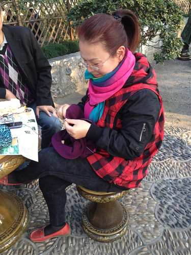 Chinese woman knitting 3