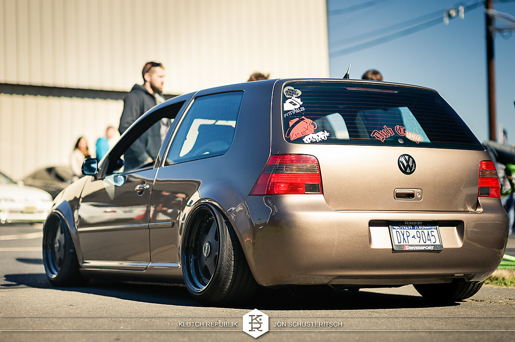 swoops brown vw mk4 r32 at canibeats first class fitment 2012 3pc wheels static airride low slammed coilovers stance stanced hellaflush poke tuck negative postive camber fitment fitted tire stretch laid out hard parked klutch motorsports seen on klutch republik
