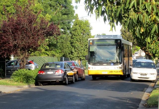 公共汽车沿着一条街道驾驶