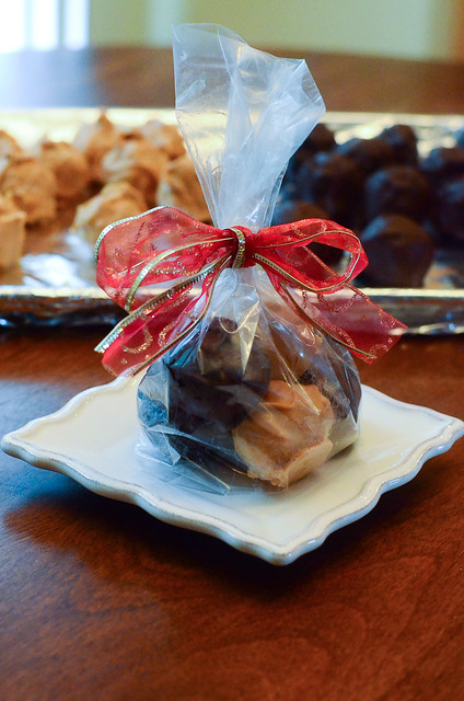 Peanut Butter Bon Bons wrapped up nicely in a bag with a bow.