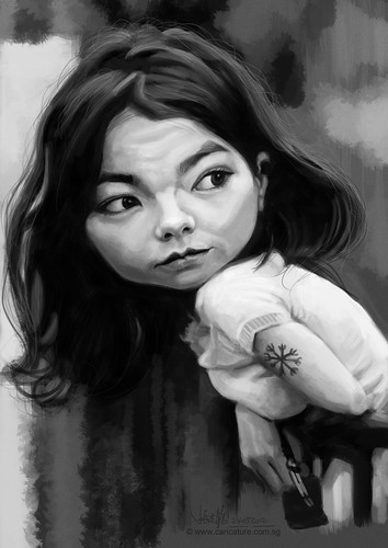 digital caricature of Bjork