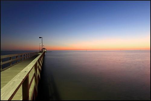sunset night pier biloxi mjforde mitchellforde