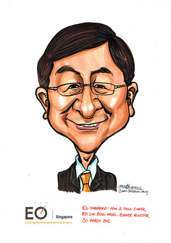 Former Minister Mr Lim Boon Heng caricature for EO Singapore