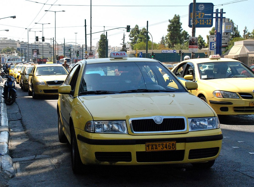 Greece - Piraeus, line of taxis
