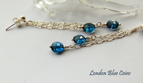 London Blue Coins Earrings by gemwaithnia