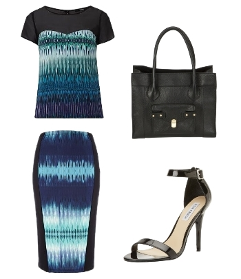 Electric Blue Aztec Blouse Top and Skirt