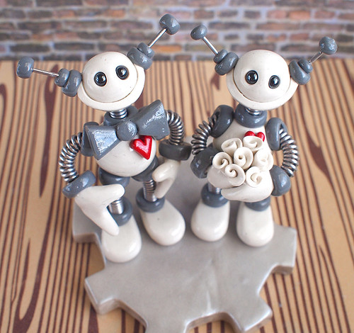 Robot Wedding Cake Topper White and Gray by HerArtSheLoves