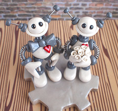 Robot Wedding Cake Topper: White and Gray