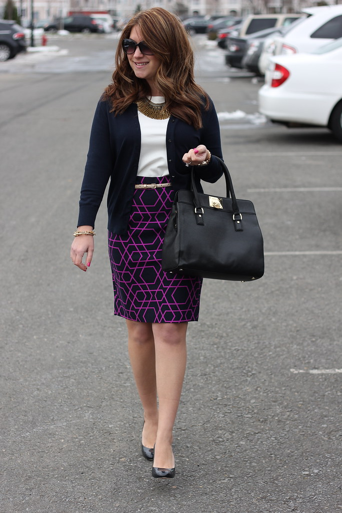 J Crew Geometric Print Pencil Skirt Outfit