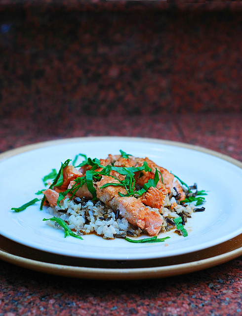 Salmon with Sake sauce and wild rice, Asian recipe