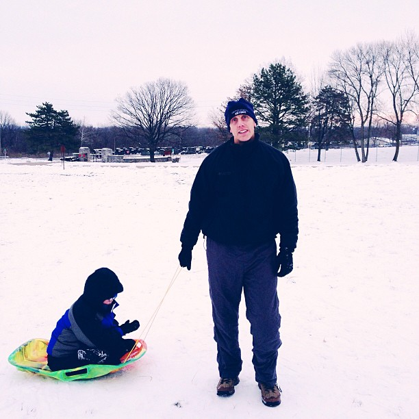 sledding on a cold day