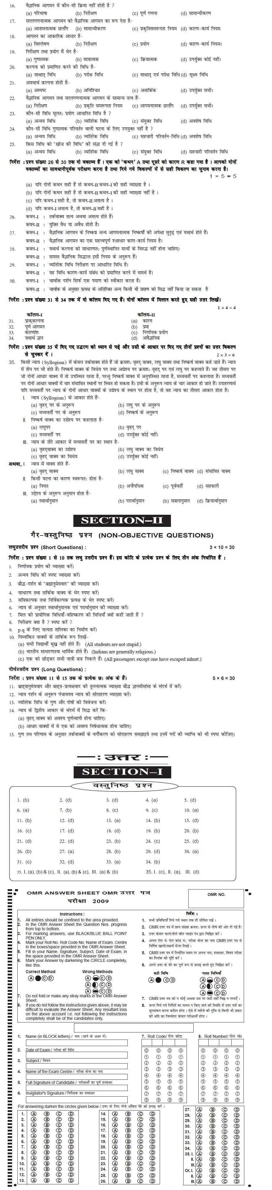 Bihar Board Class XI Arts Model Question Papers - Philosophy