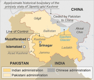 Map of area around Kashmir between India and Pakistan. Clashes on January 5, 2013 left one dead and several wounded. by Pan-African News Wire File Photos