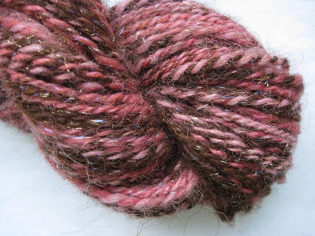 Rose Gold - handspun yarn - alpaca sparkle