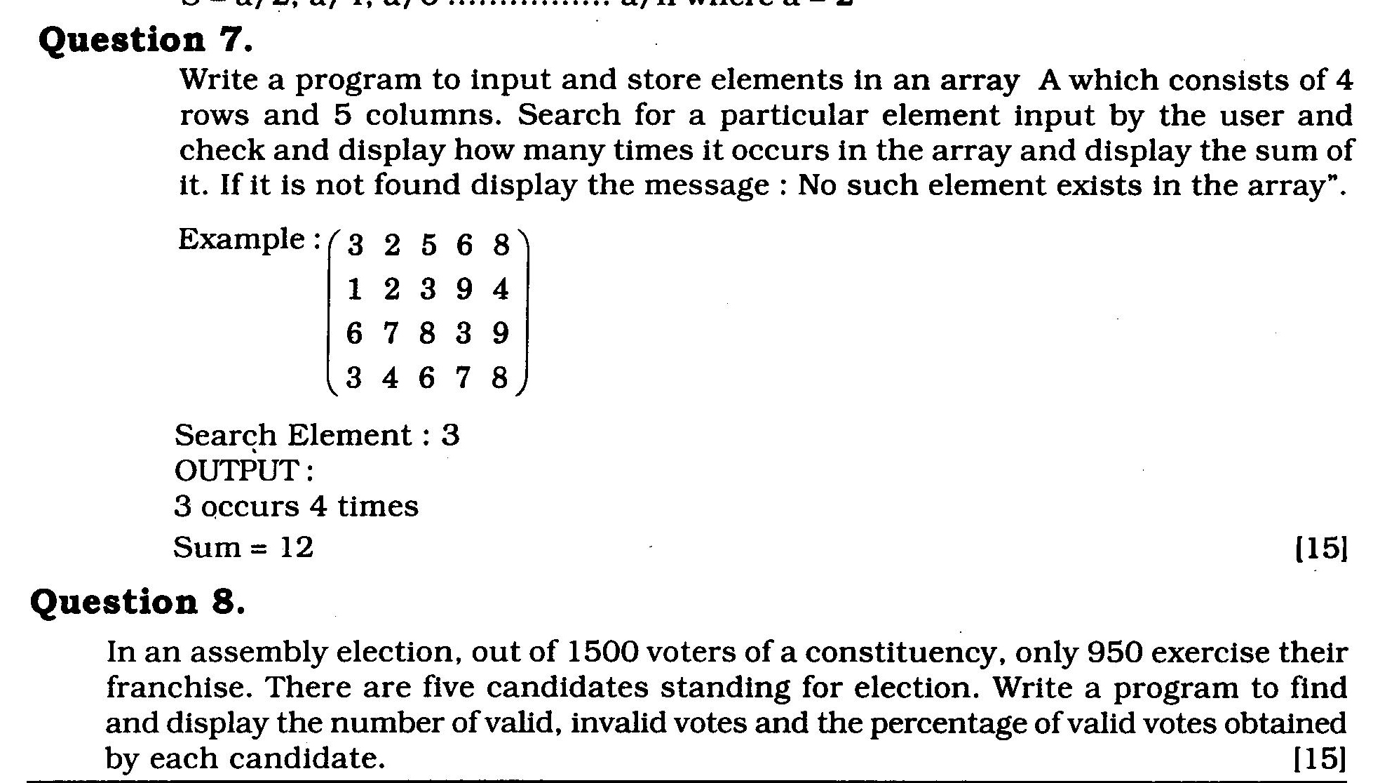 ICSE Class X Exam Question Papers 2011: Computer Science