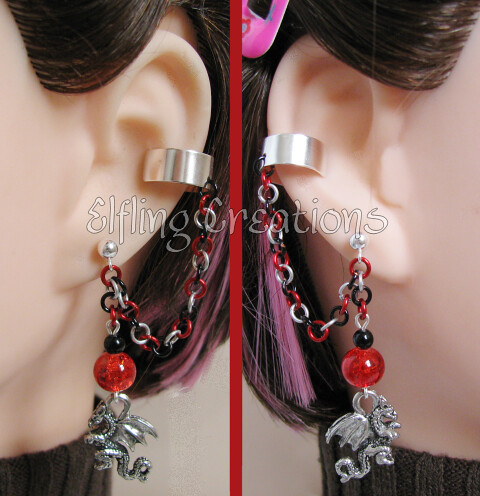 Black, Silver and Red Dragon Cartilage Chain Earrings