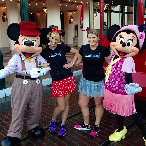 Mickey, @according2kelly, me, and Minnie...just hanging out this morning @runDisney #tinkhalfmeetup
