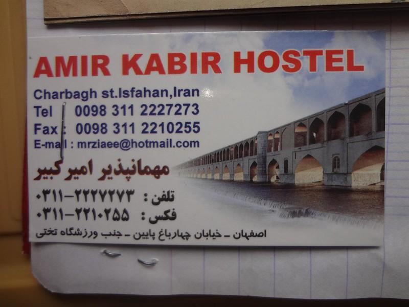 Cartão de visita do Amir Kabir Hostel