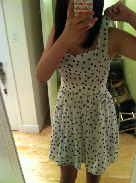 F21 Polka Dot Fit & Flare Dress, Sz S