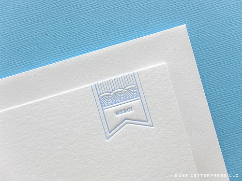 merci note card // blue