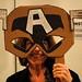 Cynthia Binkerd Selikoff in a cardboard mask