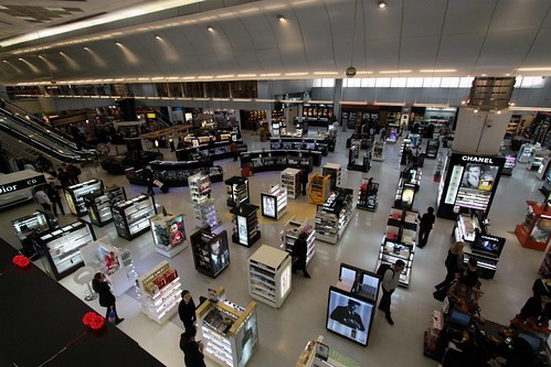 Looking down on the duty free store in the departure terminal at Doha