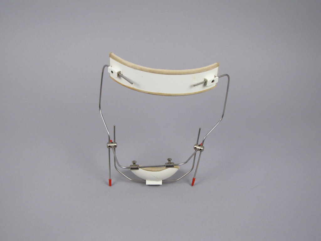 Orthodontic appliance, braces with head piece, late twentieth century.