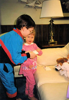 Will, almost 8, reading valentine cards to Christina, almost 3 - Valentine's Day 1993