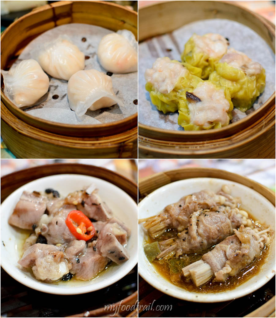 Tim Ho Wan, Mongkok, Hong Kong - Har gao, siu mai, beef wrapped enoki mushrooms, pork spare ribs