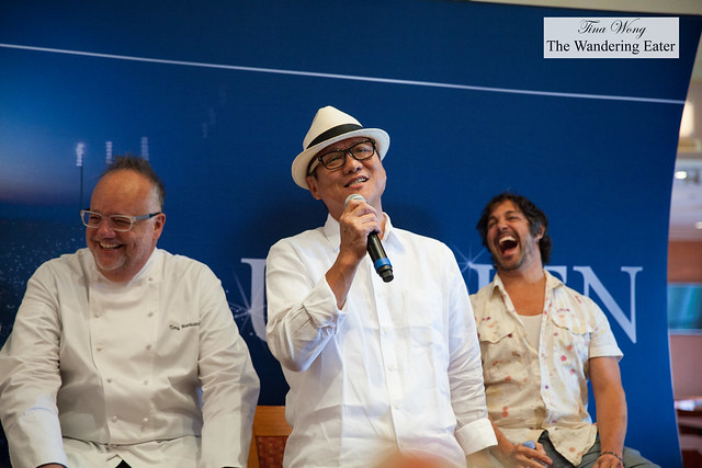 Masaharu Morimoto singing a Japanese fisherman's song (with Tony Mantauano and Ken Oringer laughing)