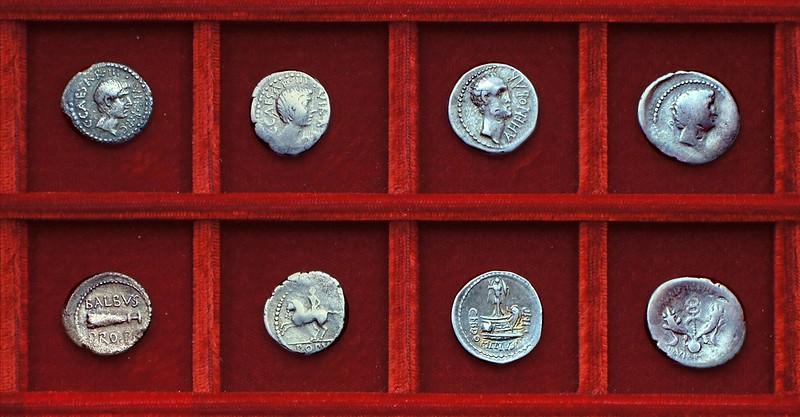 RRC 518 C.CAESAR BALBVS Octavian, Cornelia Balbus, RRC 519 AHENOBARB Domitia Ahenobarbus, RRC 520 M.ANT Mark Antony, Ahala collection Roman Republic