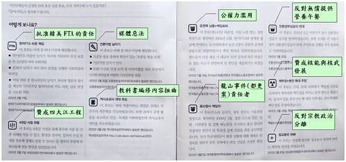 韓國參與連帶(People's Solidarity for Participatory Democracy, PSPD) 曾在會員通訊上,以簡單的表格與活潑的簡圖,呈現現任議員對「惡法」支持狀態,或許值 得國內參考。