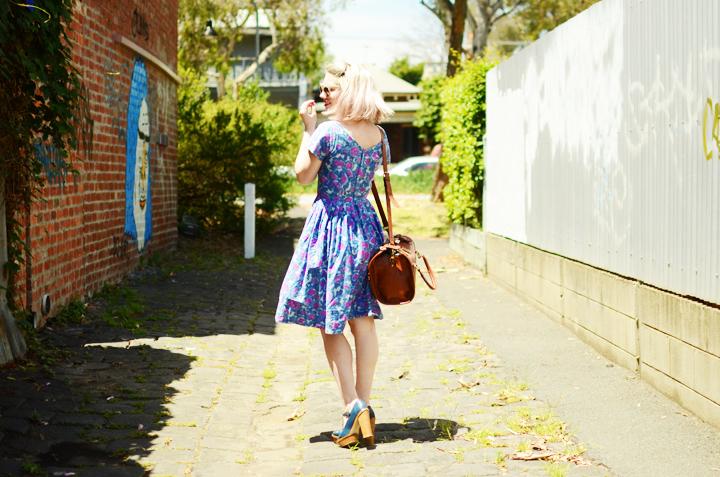 blue pink vintage dress d