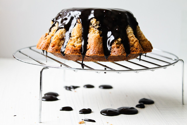 Spiced Orange Cake with Chocolate Glaze