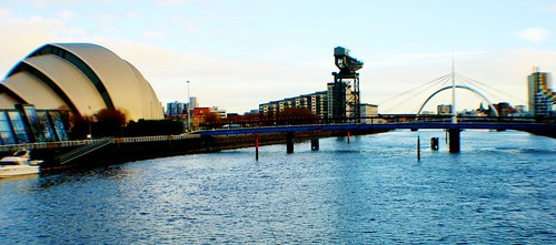 River Clyde with Armadillo, Finnieston Crane and 'Squinty' Bridge