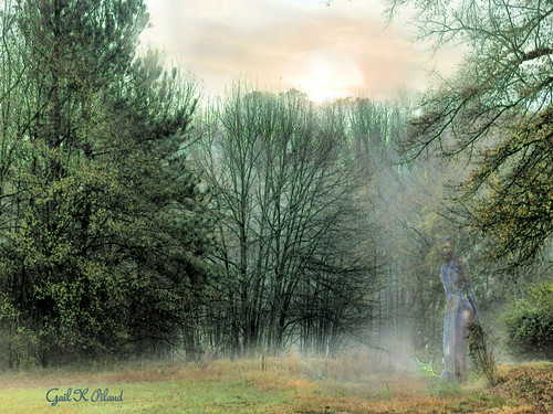 trees sky sun fog photoshop landscape woods women figure shining soe autofocus thegalaxy flickraward sharingart gailpiland flickrstruereflection1 rememberthatmomentlevel1 rememberthatmomentl1