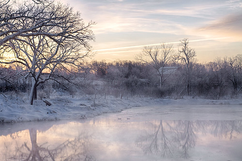 morning trees winter sun mist snow cold building nature water fog sunrise pond wi hdr canonef50mmf14usm