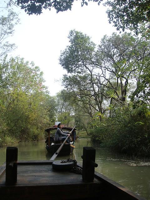 32 西溪湿地公园。游船上