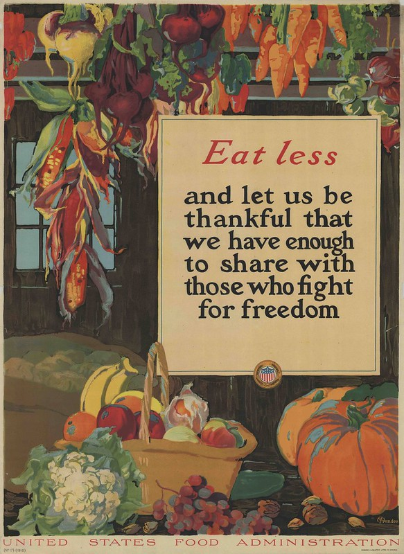 colourful poster of vegetables encouraging people to eat less for war effort