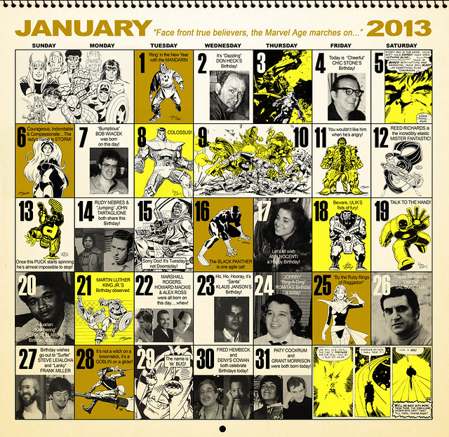 Jan 2013 Marvel Retro Calendar Days by Dusty Abell