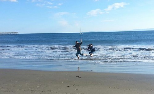 rik and esther jumping at the SB beach