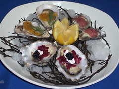 Oyster Sampler with Verjus Gelee, Beet Relish and Caviar, pepper infused red wine vinaigrette granite