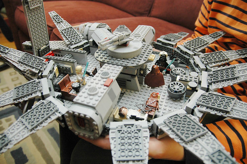 day 3103: odin shows off his lego millennium falcon. II.