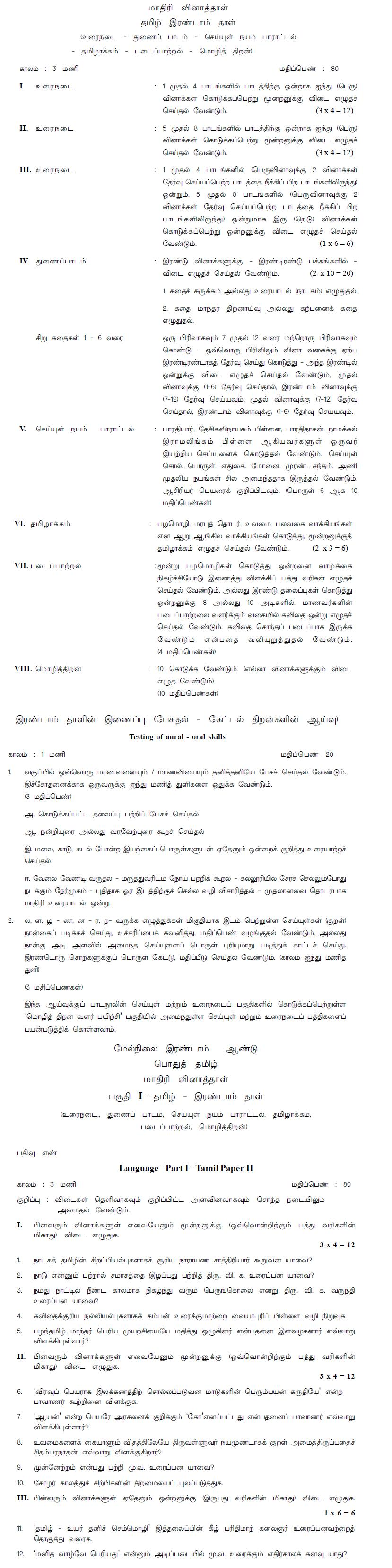 Tamil Nadu Board 2013 Class 12 Model Question Paper - Tamil